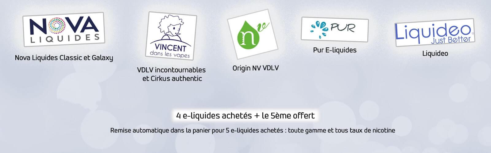 offre pack e liquide ciga france 4 e liquide achetés et le 5 ème est offert