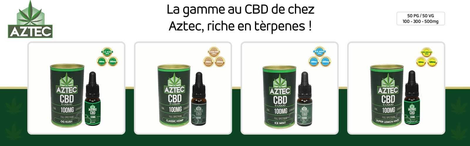 E-liquide au CBD Aztec riche en terpènes 100 mg 300 mg 500 mg